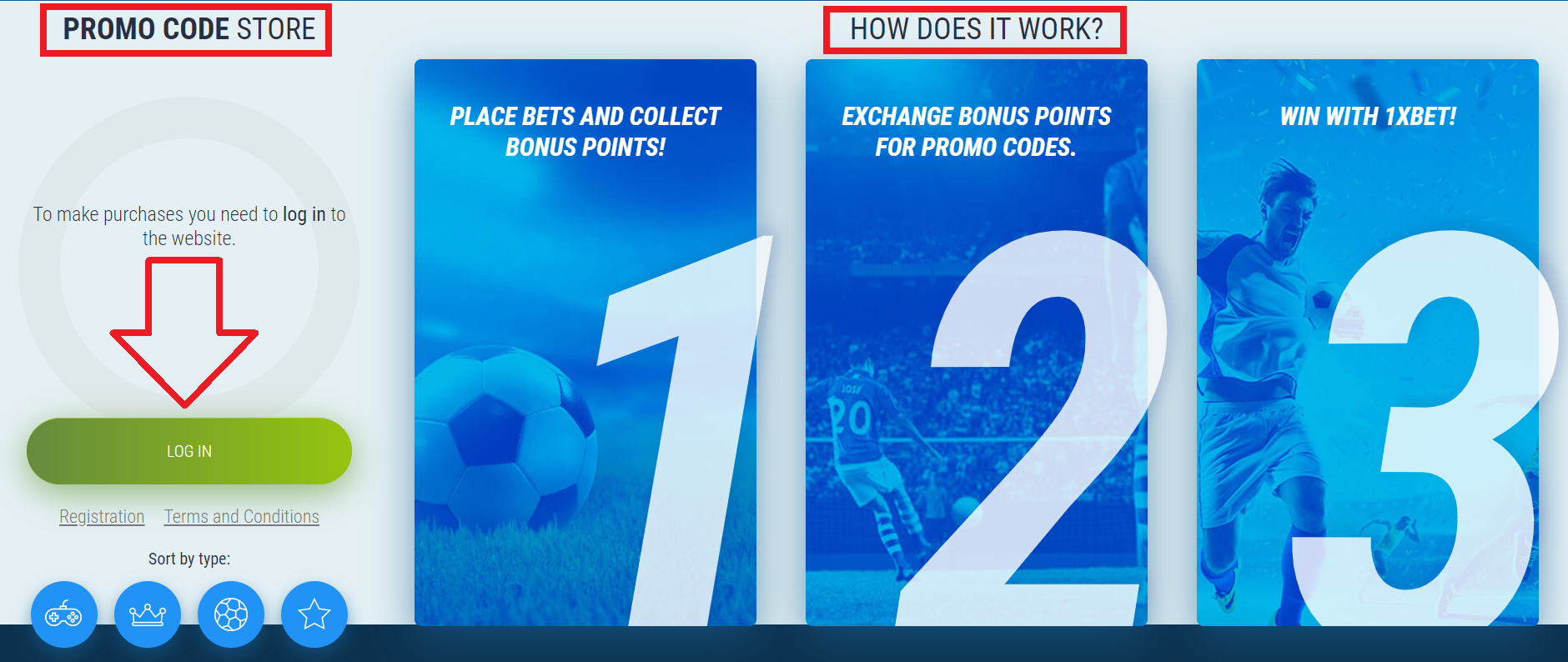 Where to find a code from 1xBet