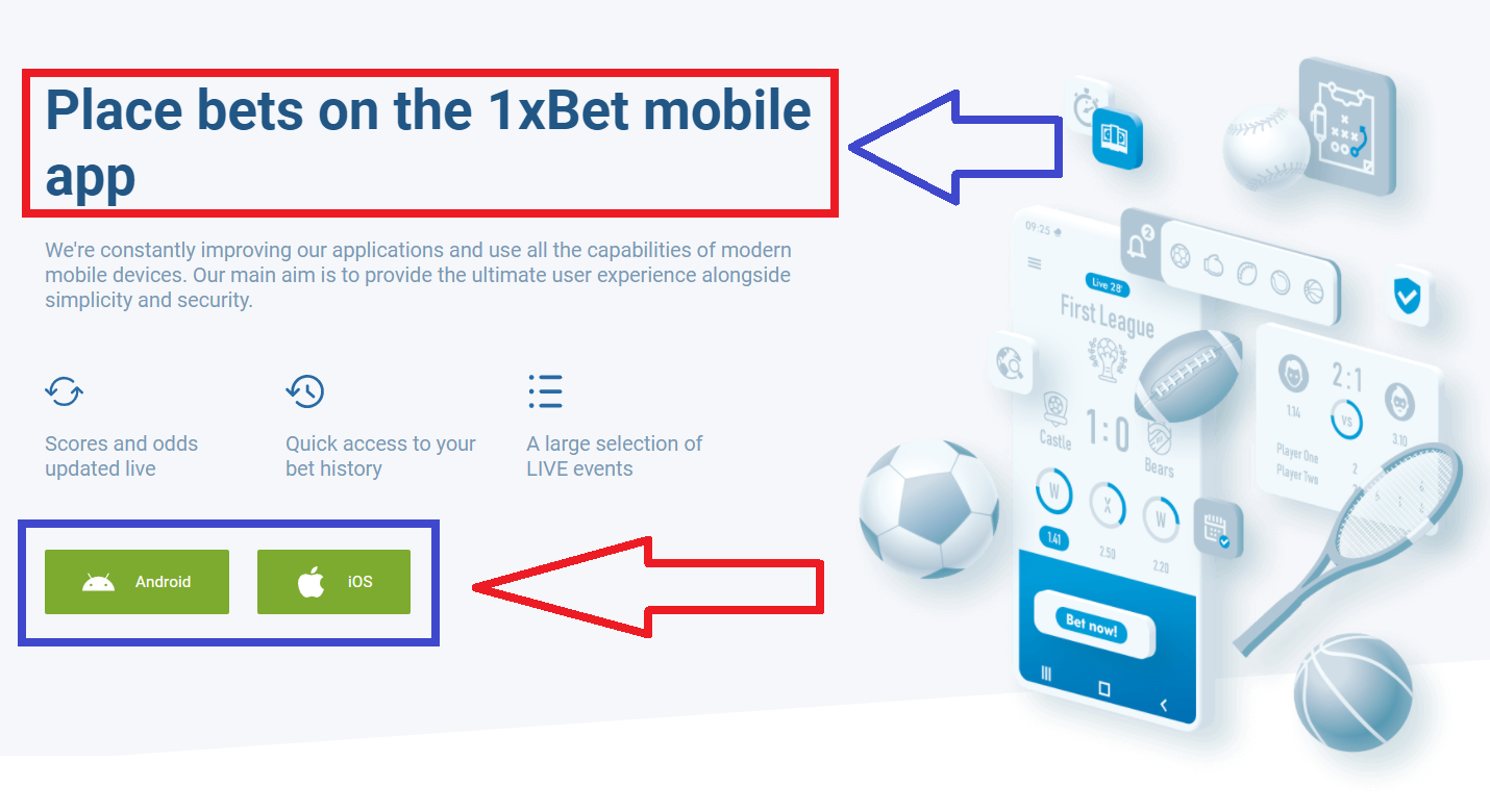 Advantages of the download file for the app from 1xBet