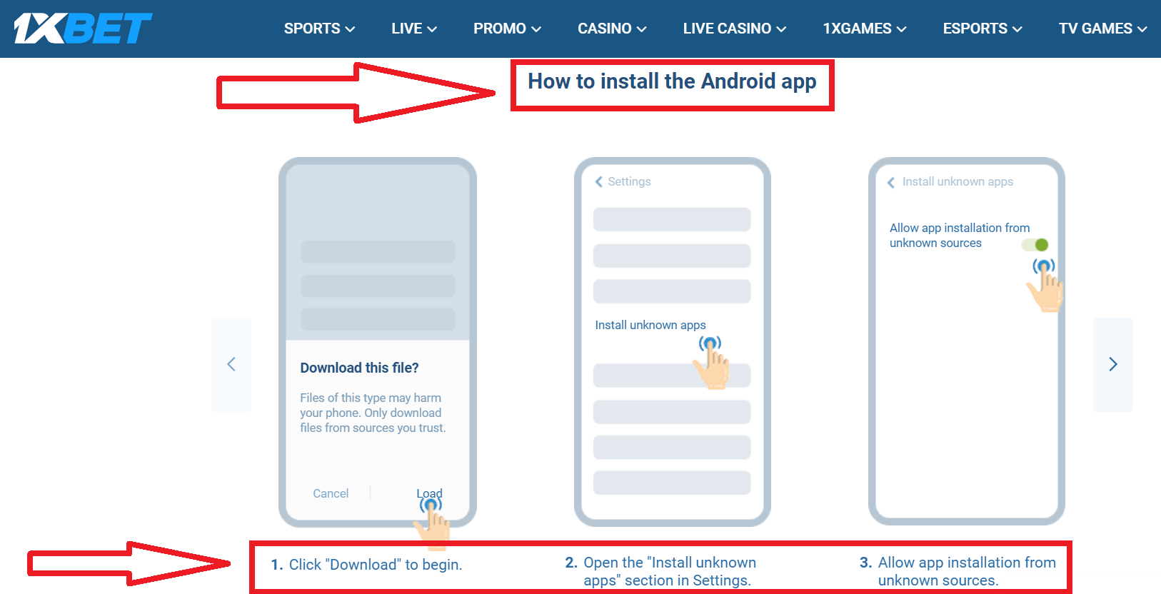 How to start the apk download process for Android app by the 1xBet company
